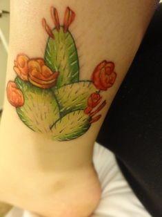 Nice Prickly Pear Cactus Tattoo On Back Leg