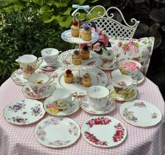 Mismatched China Tea Set and Cake Stand | Flickr - Photo Sharing!