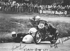 """Wiggerl"" Kraus and Bernhard Huser, german sidecar champions in 1953"