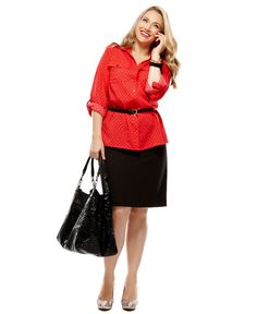 Work Your Wardrobe Plus Size Blouse and Skirt Look