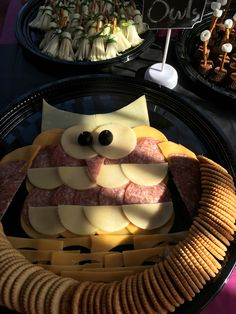 Owl cheese, salami and crackers