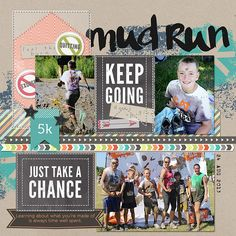 Mud Run digital scrapbook layout page by Chanell Rigterink