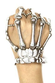 SILVER BONES Hand Chain (Skeleton Hand Ring/Bracelet)
