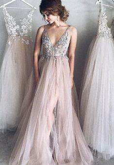 Sexy Beaded Prom Dress,V Neck Prom Dress, Cheap