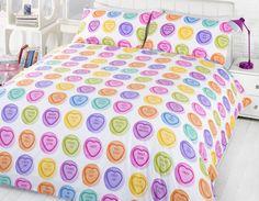 love hearts bedding single double duvet cover u0026 pillowcase hug me