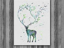 Deer Printable Watercolor art print