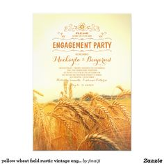 """yellow wheat field rustic vintage engagement party 5"""" x 7"""" invitation card"""