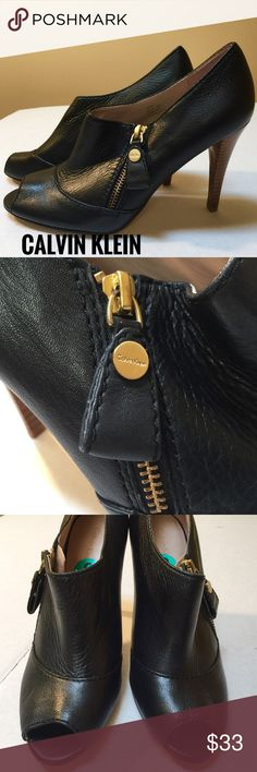 """CALVIN KLEIN PEEP TOE HEELS Super Cute CK Peep toe heels. Gorgeous black leather with GOLD Zipper details. Hardly any wear, no scuffs or flaws. EUC. 4"""" heels. Make me an offer. Calvin Klein Shoes Heels"""