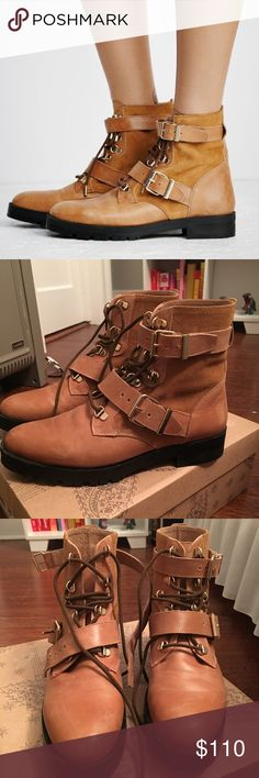 $198 Free People Lace Up Boot (size 38) Lace up boot with an ultra cool leather and suede design. Features adjustable belt around ankle and top of foot. Worn once around the house but were too big for me! In perfect condition. Free People Shoes Ankle Boots & Booties