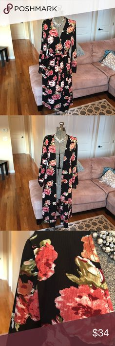 NWT S, M, BLACK FLORAL PRINT LONG BOHEMIAN KIMONO New with tags! Super cute! Sorry the pictures are a little dark the sun was going down! Thanks for visiting my closet! ⚠️ WARNING: the size small does not have he tags on it but it is new and never worn.  I bought it without tags! Sweaters Cardigans