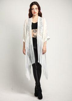 White Velvet Fringe Kimono White Rose by shevamps on Etsy