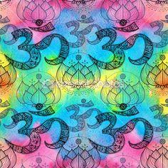 Ом. символ Ом Аум и Лотос — стоковое изображение #46035545