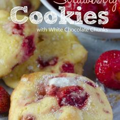 Strawberry Cookies With White Chocolate Chunks Recipe Desserts, Afternoon Tea with all-purpose flour, baking powder, salt, unsalted butter, cream cheese, sugar, eggs, vanilla extract, strawberries, lemon juice, flour, white chocolate, sanding sugar