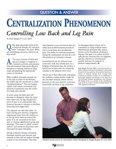 Centralization Phenomenon: Controlling Low Back and Leg Pain