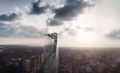a greenery-filled skyscraper has been revealed for toulouse, while a mixed-use commercial center will be connected to a railway station in nice.