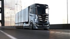 Nikola Motor Company makes fully-electric and hydrogen fuel cell electric cabover semi-trucks. The Nikola Tre is available in Europe, Asia and Australia. Electric Semi Truck, Electric Cars, Electric Vehicle, Heavy Duty Trucks, Heavy Truck, Semi Trucks, Nikola One, Jaguar, Hydrogen Fuel