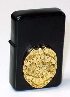 Black Gold Police Badge Emblem Lighter Z-Type Flint Spark Lighter - NEW