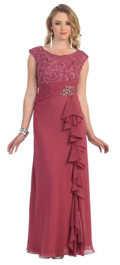 TheDressOutlet Plus Size Long Lace Chiffon Mother of the Bride Dress Formal