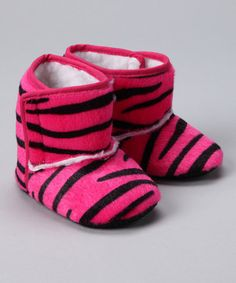Take a look at this Hot Pink Zebra Booties - Infant by Paddi Cake Bowtique on #zulily today!