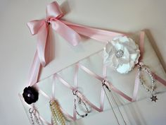Original Girls French Jewelry Hanger and Bow Holder - Mini - Ivory Satin and Pink Ribbon - Princess - Ballerina. $27.00, via Etsy.