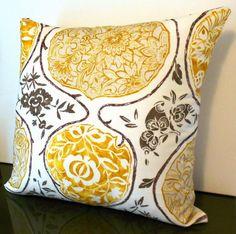 Schumacher Katsugi Decorative pillow cover, designer golden yellow modern floral pillow