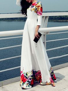 Slash Neck Floral Printed Maxi-dresses