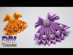 DIY - How to make Kanzashi Little Dress Satin Ribbon Flowers, Ribbon Art, Ribbon Hair Bows, Diy Ribbon, Ribbon Crafts, Fabric Flowers, Kanzashi Tutorial, Ribbon Flower Tutorial, Fabric Ornaments