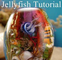 Lampwork Glass Bead Tutorial Jellyfish Seascape von marylockwood