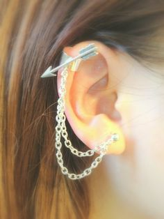 Silver arrow ear cuff double piercing chain and by AprilLilies, $10.50