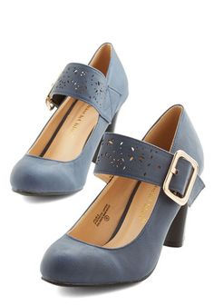 Help Yourself Heel in Dusk - Mid, Faux Leather, Blue, Solid, Cutout, Work, Vintage Inspired, 20s, Good, Mary Jane, Variation