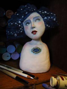 mixed media art doll gypsy boho stargazer by amber leilani middleton...