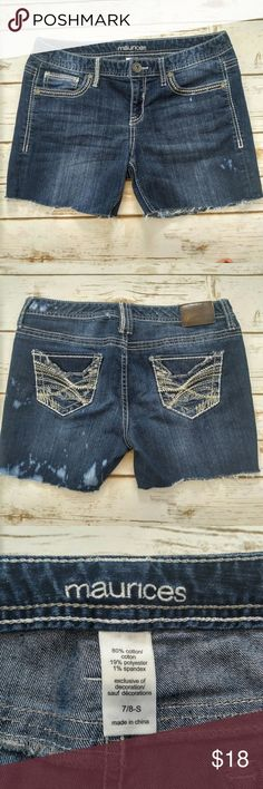"""Maurices dark denim distressed cutoff shorts Maurices dark denim distressed cutoff shorts  Size 6/7 in great condition. These have bleach marks and are a cut off style (purchased this way) Waist 16"""" Inseam 5"""" Please let me know if you have any questions. I ship the same day as long as the post office is still open. Have a great day, thanks for checking out my closet and happy poshing! Maurices Shorts Jean Shorts"""
