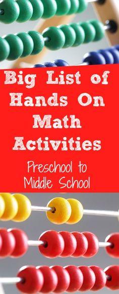 fun interactive math activities, hands on math for preschool, kindergarten elementary school and middle school. Homeschool math activities.