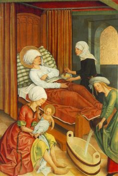 c. 1500 - Meister des Pfullendorfer Altars, Birth of Mary.  See also http://commons.wikimedia.org/wiki/File:Master_Of_The_Pfullendorf_Altar_-_The_Birth_of_Mary_-_WGA14611.jpg
