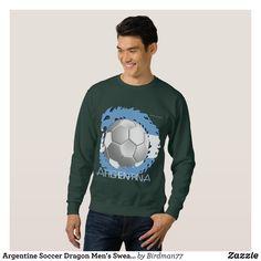 Argentine Soccer Dragon Men's Sweatshirt - Outdoor Activity Long-Sleeve Sweatshirts By Talented Fashion & Graphic Designers - #sweatshirts #hoodies #mensfashion #apparel #shopping #bargain #sale #outfit #stylish #cool #graphicdesign #trendy #fashion #design #fashiondesign #designer #fashiondesigner #style