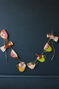 Doggies in a Tea Cup Paper Bunting  Garland