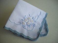 Something blue silk ribbon embroidered wedding by handcraftusa
