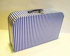 Koffer Pappe, blau weiß gestreift, groß, 35cm, Pappkoffer