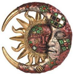 New Red Sun Celestial Mosaic Wall Art Sculpture Home Kitchen In/Outdoor Decor