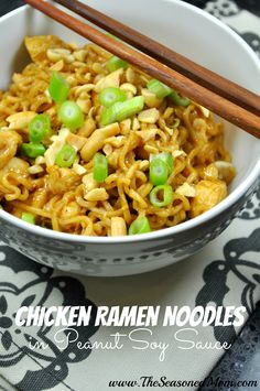 Chicken Ramen Noodles in Peanut Soy Sauce on MyRecipeMagic.com -- jazz up some Ramen noodles with chicken and a delicious 3-ingredient sauce! Perfect fast and easy weeknight dinner!