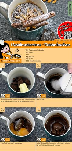 Probiert diesen leckeren Haselnusscreme-Tassenkuchen, der ganz einfach in der Mikrowelle gebacken wird. Das Haselnusscreme-Tassenkuchen Rezept Video findest du mit Hilfe des QR-Codes ganz leicht :) #HaselnusscremeTassenkuchen #Tassenkuchen #Backrezepte #Kuchen #DessertRezept #Dessert #Nachtisch #Gäste #RezeptVideo #RezeptVideos #Rezept