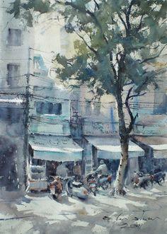 watercolor by Direk Kingnok Watercolor Landscape, Watercolour Painting, Watercolours, Watercolor Artists, Landscape Photos, Landscape Paintings, Landscapes, Urban Sketching, Traditional Art