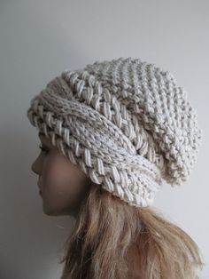 Slouchy Beanie Slouch Cable Hats Oversized Baggy Beret Button womens fall winter accessory Light Grey Linen Gray Super Chunky Hand Made Knit Bonnet Crochet, Crochet Beanie, Knit Or Crochet, Crochet Crafts, Knitted Hats, Slouchy Hat, Loom Knitting, Beret, Knitting Patterns