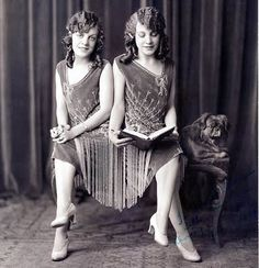 The real Daisy and Violet Hilton.  Conjoined twins.