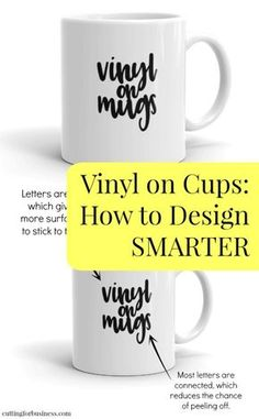 Vinyl on Cups, Tumblers, and Mugs - Designing Smarter with Your Silhouette Cameo or Cricut Explore - by cuttingforbusiness.com Cricut Explore Air, Cricut Ideas, Cricut Craft, Cricut Vinyl Projects, Cricut Explore Projects, Cricut Tutorials, Cricut Air, Cricut Stencil Vinyl, Cricut Fonts