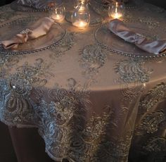 mauve lace over champagne table - Google Search
