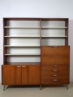 MCM shelf system with pull-down desk at right
