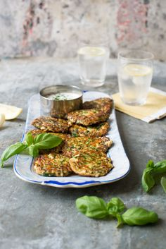 These light, flourless, gluten-free Courgette Haloumi Basil Fritters are so simple to make. Double the flavour by binding with grated haloumi or mozzarella! Vegetarian Recipes, Cooking Recipes, Healthy Recipes, Meat Recipes, Recipies, Fritters, Main Meals, The Fresh, Food Inspiration