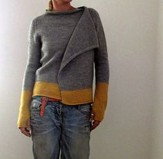 just a lovely, casual open-front cardigan…no more, no less ;)) and I loooove it!!!!! top-down raglan construction raw edges faux seams colour block thumbholes check out the test thread in the g...