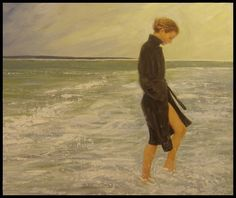 "Painting by Marvin Casey .Med- Acrylic- "" Girl on the beach."